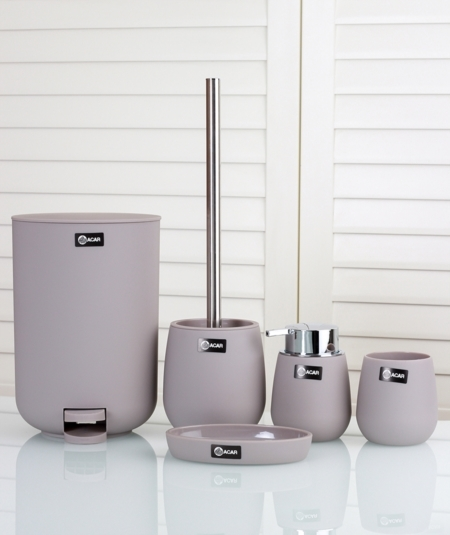 5pcs. bathroom accessories set taupe (Item No. 2696)