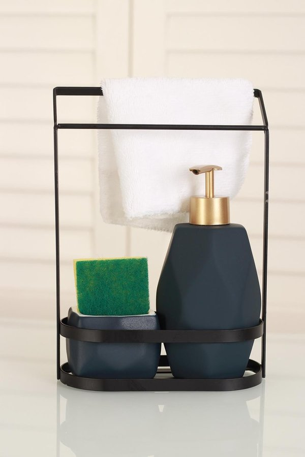 Soap dispenser set blue incl. flushing sponge and guest towel (Item No. 2817)